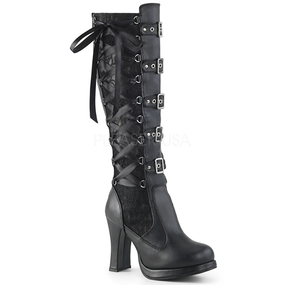 7a6e41ed796 Gothic High Heel Platform Knee High Boots Lace Up NWT
